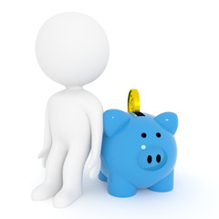 small white people with blue piggy bank for savings on isolated white background in 3D rendering