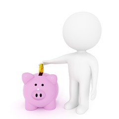 small white people with pink piggy bank for savings on isolated white background in 3D rendering