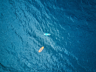 People on kayak aerial view
