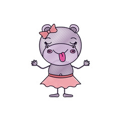 color crayon silhouette caricature of female hippo in skirt with bow lace and sticking out tongue expression vector illustration