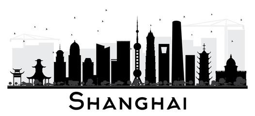 Shanghai City skyline black and white silhouette.