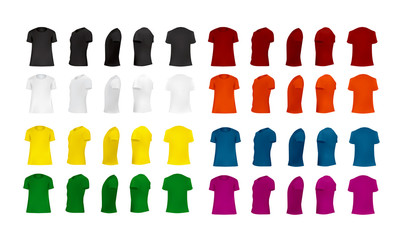T-shirt template set of different colors, blank shirts front, side, perspective, rear views, different angles, vector eps10 illustration isolated on white background