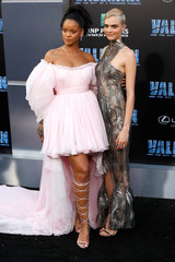 "Cast member Rihanna and Delevingne at the premiere for ""Valerian and the City of a Thousand Planets"" in Los Angeles"