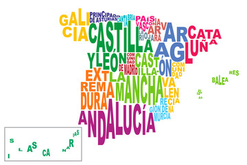 Provinces of Spain word cloud with Canaries