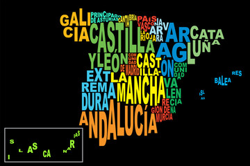 Provinces of Spain word cloud black with Canaries