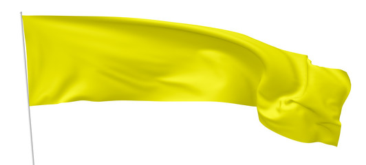 Long yellow flag with flagpole waving in wind