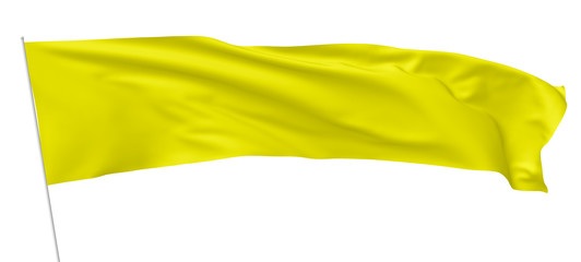Long yellow flag on flagpole waving in wind.