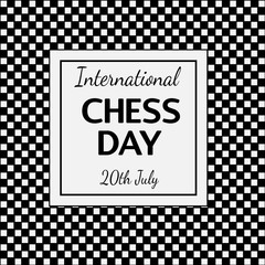 International Chess Day - greeting card with chess pieces. Vector illustration of chess diagram.
