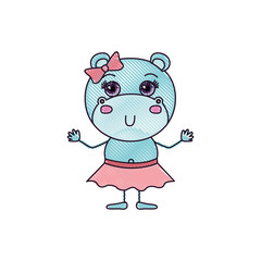 color crayon silhouette caricature of adorable expression female hippo in skirt with bow lace vector illustration