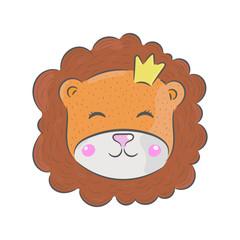 Vector hand drawn illustration. Lion, children's illustration.