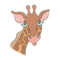 Vector hand drawn illustration. Giraffe, children's illustration.