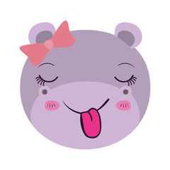 colorful caricature facef emale hippo animal sticking out tongue expression with bow lace vector illustration
