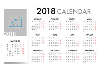 Calendar for 2018 Template design. Week Starts Monday. Vector EPS10