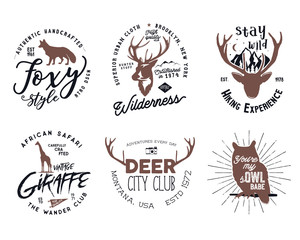 Wild animal badges set. Included giraffe, owl, fox and deer shapes. Stock isolated on white background. Good for tee designs, mugs, logotype.