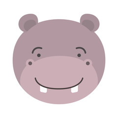 colorful caricature cute face of male hippo animal happiness expression vector illustration