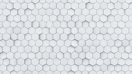 White hexagon pattern abstract 3D render