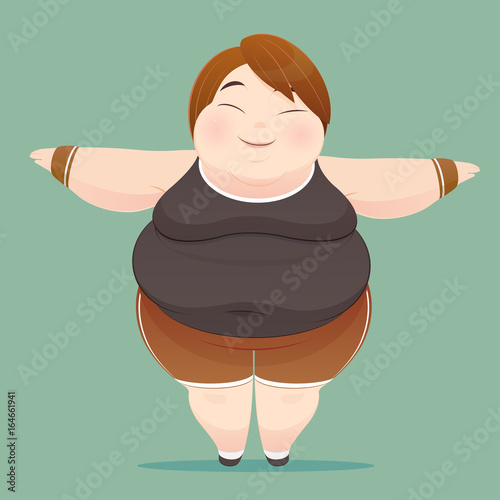 a9c6e38d1 Character of an overweight woman dressed in sportswear on green background.  illustration of a fat people figure