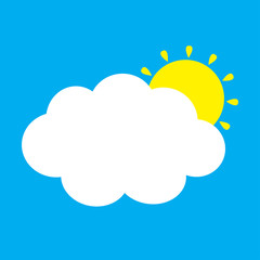 White cloud and yellow sun set. Fluffy clouds. Cute cartoon cloudscape. Cloudy weather sign symbols. Flat design Decoration element. Blues sky background. Isolated.