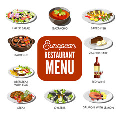 European restaurant menu with exquisite cuisine isolated illustrations set