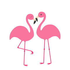 Two pink flamingo set. Exotic tropical bird with eyes. Zoo animal collection. Cute cartoon character. Love family couple. Decoration element. Flat design. White background. Isolated.