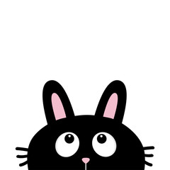 Black rabbit bunny face head silhouette with long ears looking up. Cute cartoon funny character. Kawaii animal. Baby card. Sticker print template. Flat design. White background. Isolated.