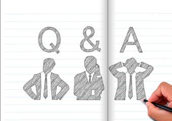 ノートに描いた考える3人のビジネスマンのシルエット