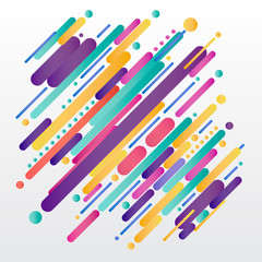 Modern style abstrac composition made of various rounded shapes in colorful. Vector
