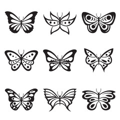 Black Animal Insect butterfly tattoo and silhouettes Icon Vector