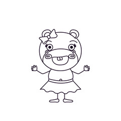 sketch silhouette caricature of happiness expression female hippo in clothes with bow lace vector illustration