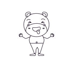 sketch silhouette caricature of cute hippopotamus happiness expression and sticking out tongue in pants vector illustration