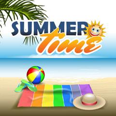 Summer vector banner include summer objects 3d on beach vector illustration