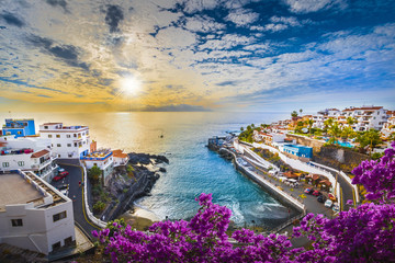 Aluminium Prints Canary Islands Sunrise in Puerto de Santiago city, Tenerife, Canary island, Spain