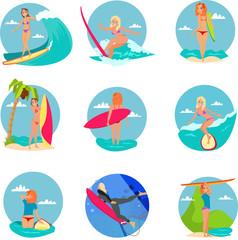 Surfing girl cartoon flat set vector illustration