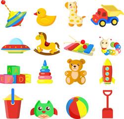 Toys set baby vector illustration