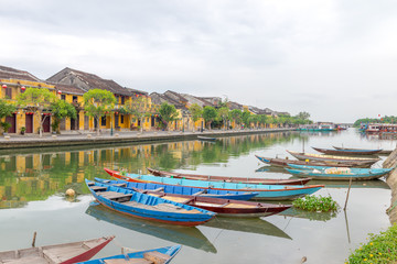 Vietnam's fishing boats and ancient city of Hoi An 2017.