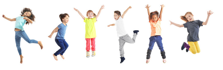 Collage of jumping schoolchildren on white background Wall mural