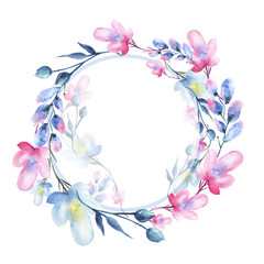 A round watercolor frame, a postcard, a wreath of flowers, twigs, plants, berries. Vintage illustration. Use in different designs, invitations, cards, advertising. Pink and blue abstract flowers.