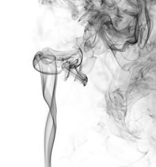 Swirl of black smoke on white background