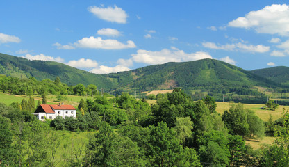 Poster Hill landscape of Beskydy mountains with green forests and meadows on sunny summer day