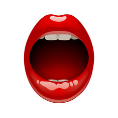 Woman's open mouth with sexy red lips