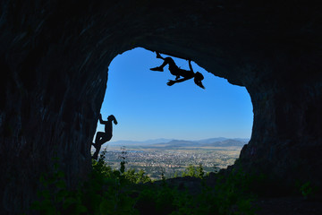 Climb to the cave ceiling