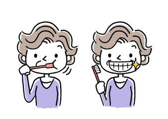 シニア女性:歯磨き