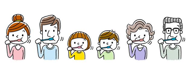 3世代家族:歯磨き