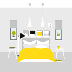 Vector interior of a bedroom