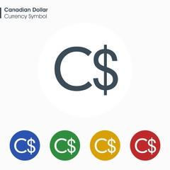 Canadian Dollar sign icon.Money symbol. Vector illustration.