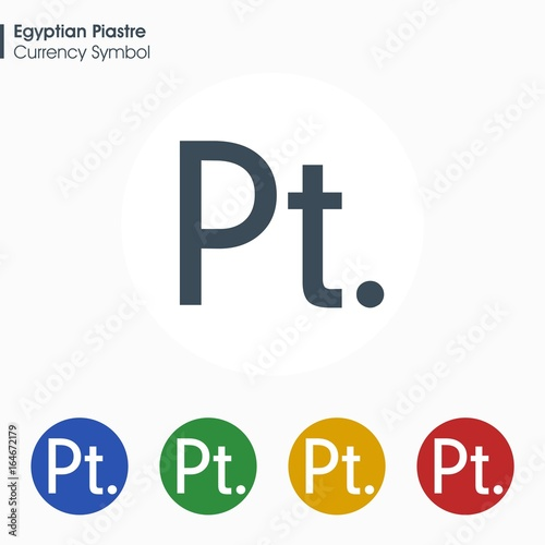 Egyptian Piastre Sign Iconney Symbol Vector Illustration Stock