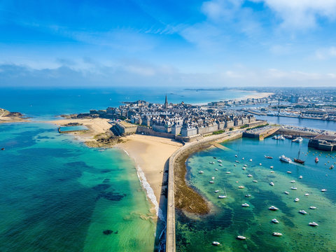 Aerial view of the beautiful city of Privateers - Saint Malo in Brittany, France