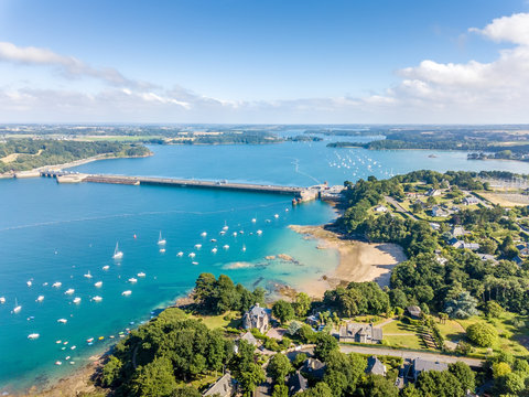 Aerial view on Barrage de la Rance in Brittany close to Saint Malo, Tidal energy