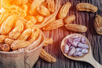 Boiled Peanuts on wood background