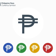 Philippine Peso sign icon.Money symbol. Vector illustration.